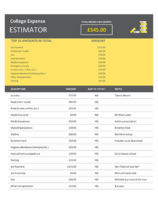 College expense estimator