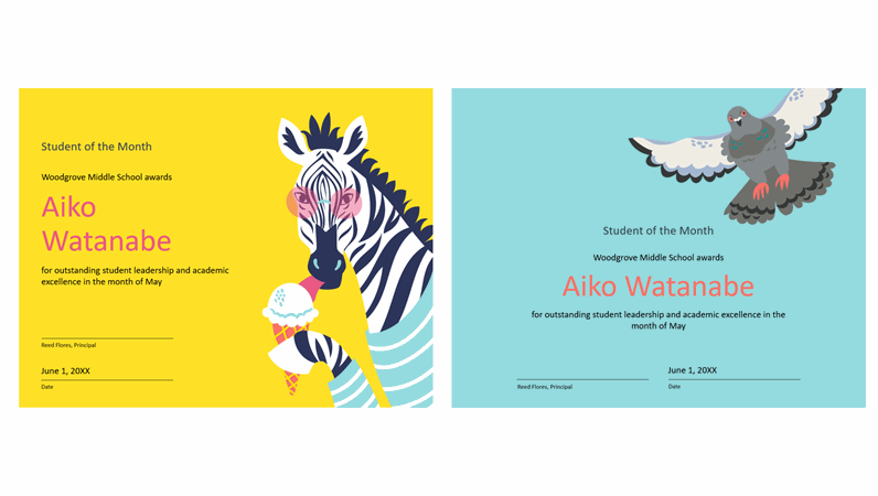 Colour block animals student certificate