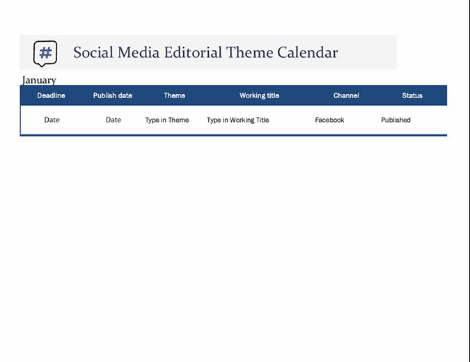 Social media editorial theme calendar