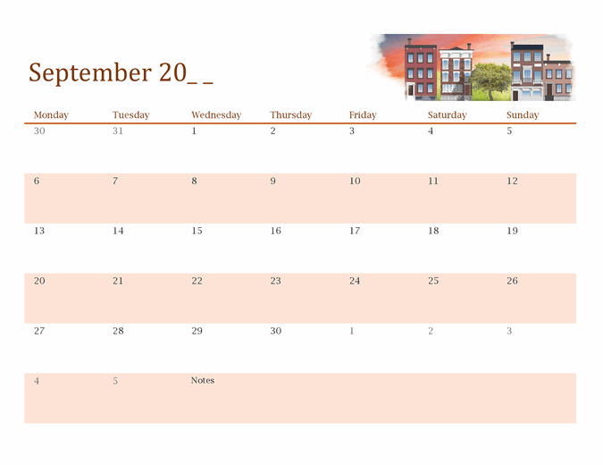 Seasonal illustrated any year calendar
