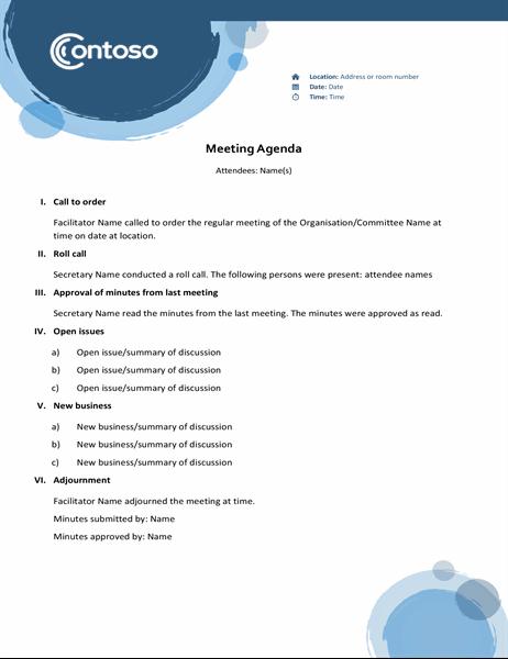 Blue spheres agenda