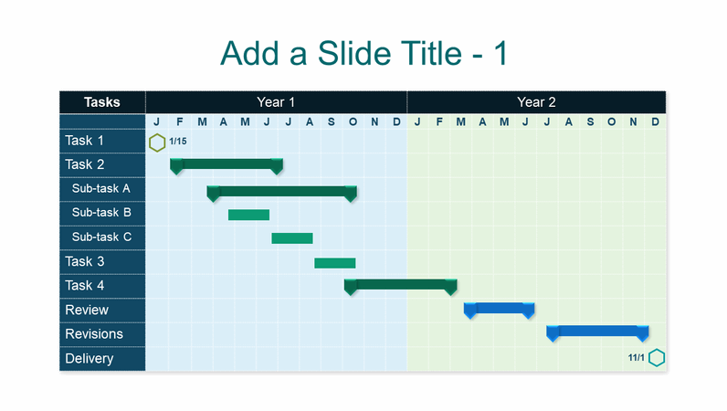 Blue two-year Gantt chart