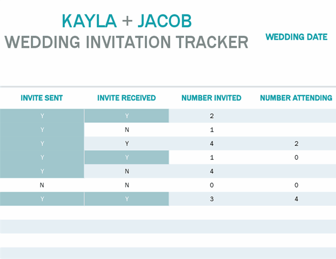 Water colour wash invitation tracker