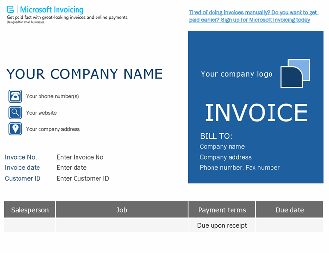Order invoice with Microsoft Invoicing