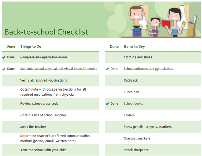 Checklist for back to school