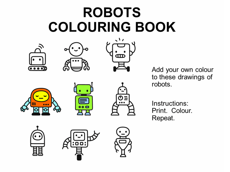 Robots colouring book