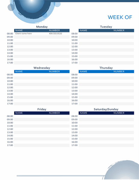 Blue spheres appointment calendar