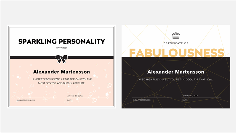 Funny certificates