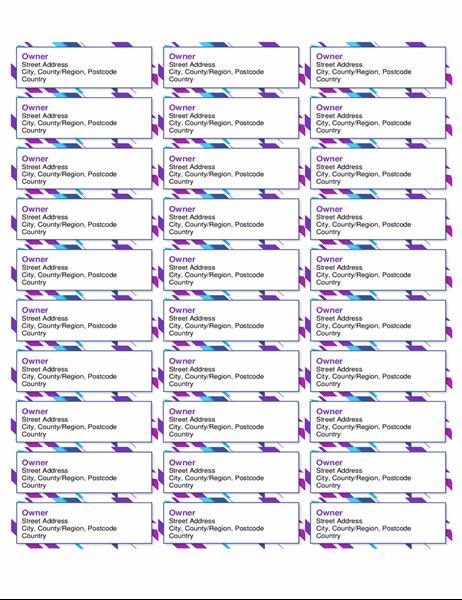 Purple graphic labels (30 per page)