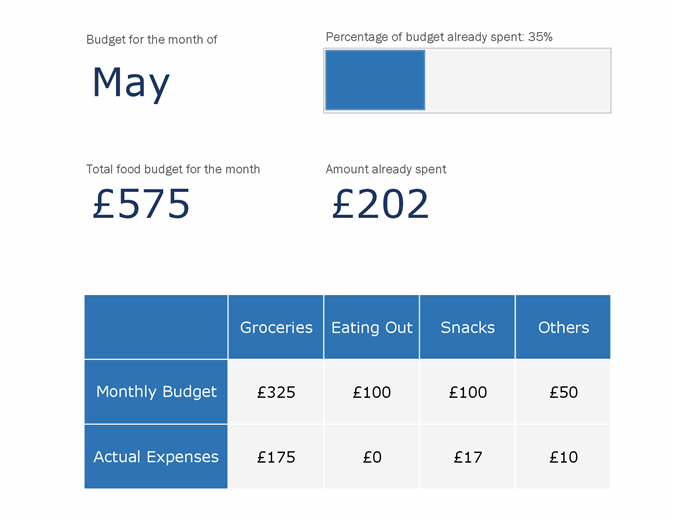 Monthly food budget