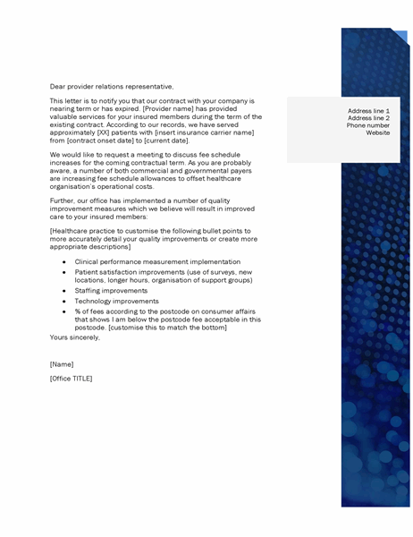 Provider relations letter healthcare