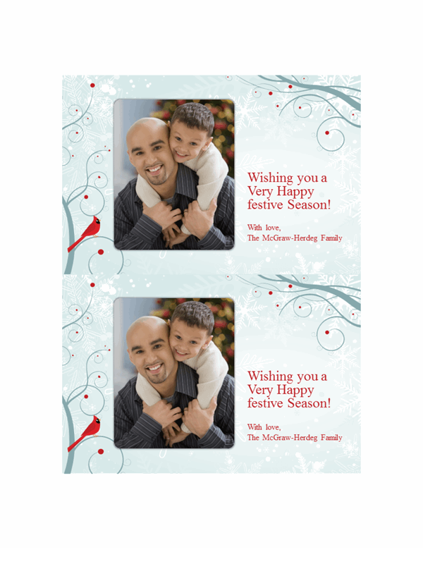 Snowflake Christmas photo cards (two per page)