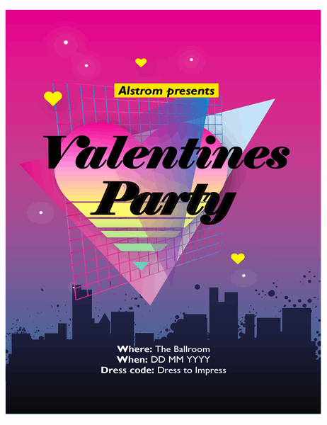 Eighties Valentine's Day flyer