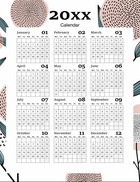 Modern floral calendar