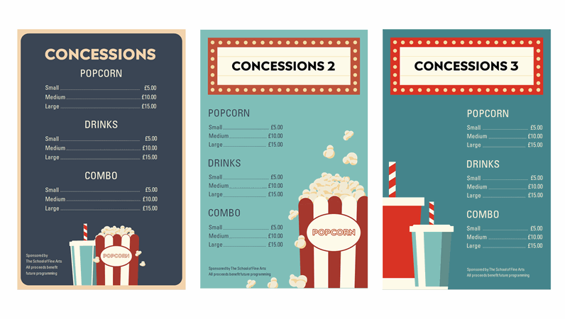 Film night concession posters