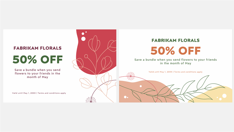 Modern floral gift coupon