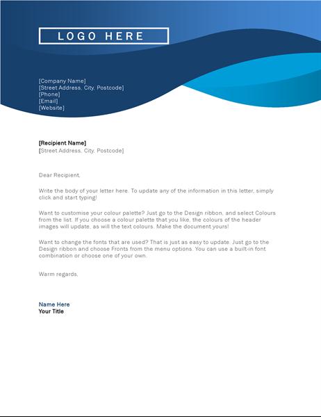Blue curve letterhead