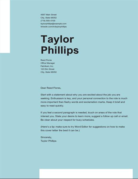 Clean elegant cover letter