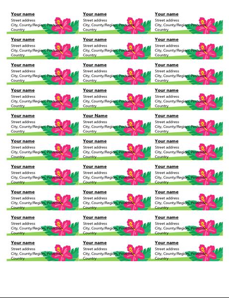Tropical labels (30 per page)