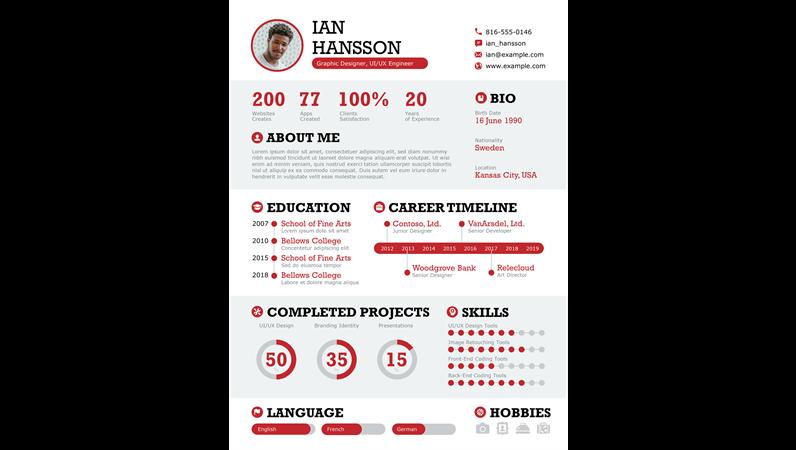 Bold infographic resume