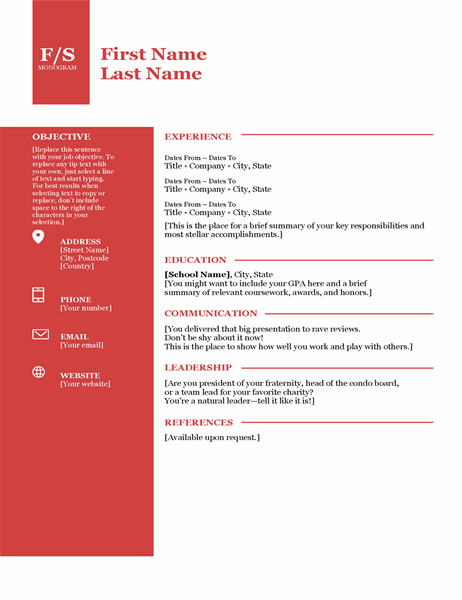Bold monogram CV
