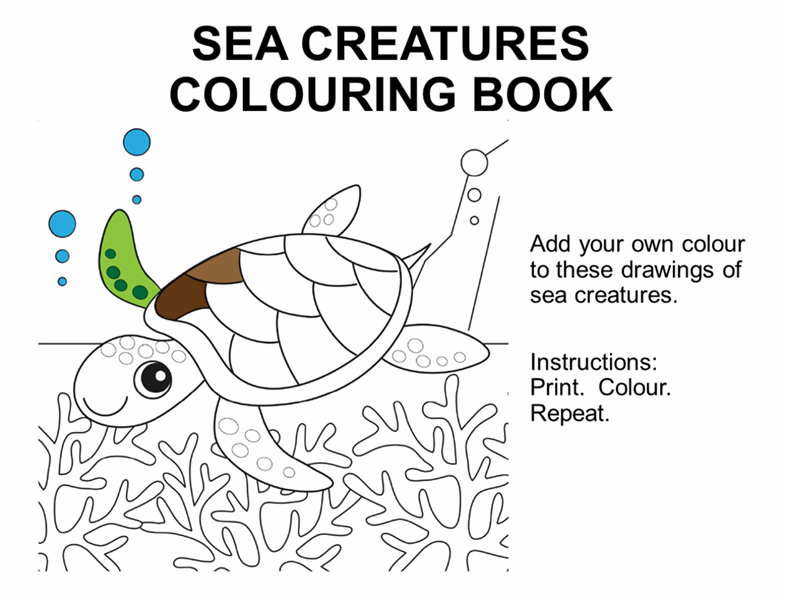 Sea creatures colouring book
