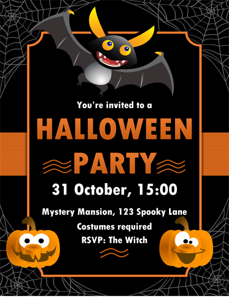 Batty Halloween invitation