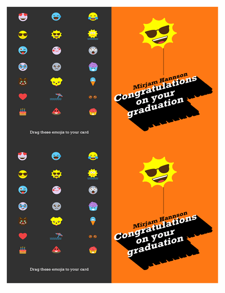 Emoji graduation card