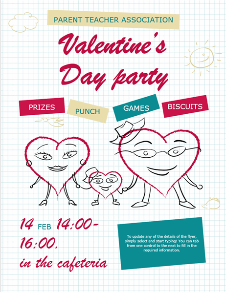 Cartoon hearts Valentine's flyer