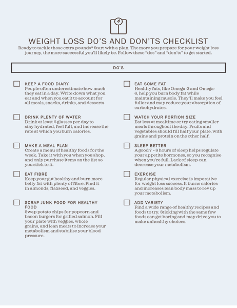 Weight loss dos and don'ts checklist
