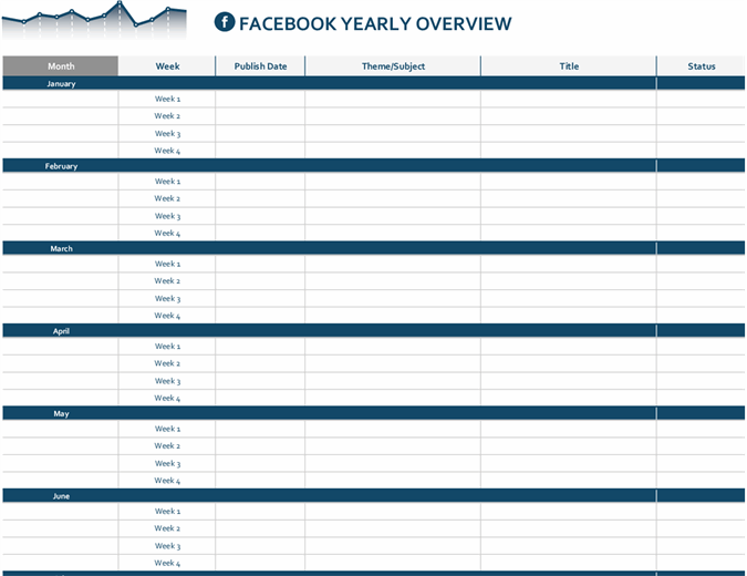 Social media platform editorial calendar