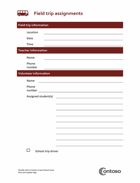Field trip assignment form