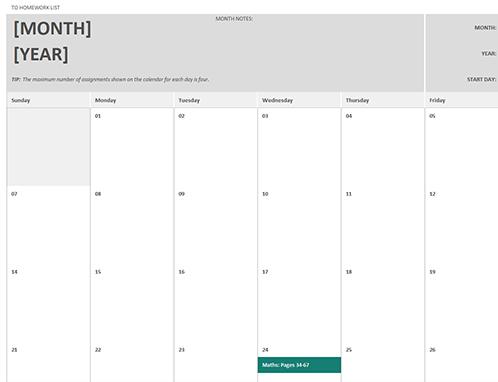 Homework calendar