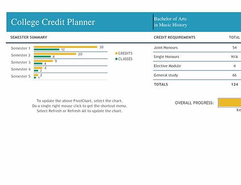 University credit planner