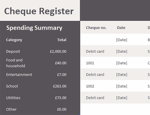 Cheque register