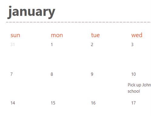 Evergreen calendar tabs (white)