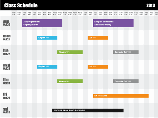 Class schedule (by time)