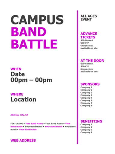 Student flyer (pink, black bold design)