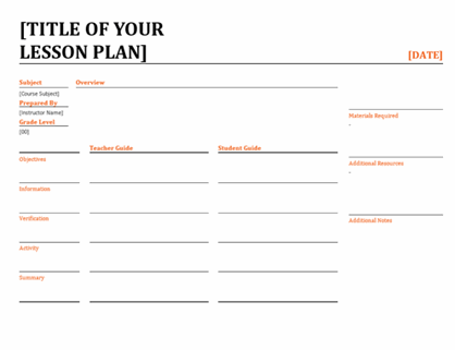 Daily lesson planner
