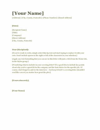 CV covering letter (green)