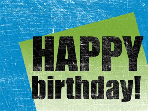 Birthday card, scratched background  (blue, green, half-fold)