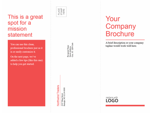 Tri-fold business, medical brochure (red, white design)