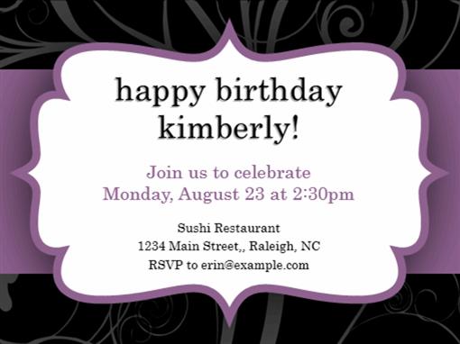 Party invitation (Purple Ribbon design)