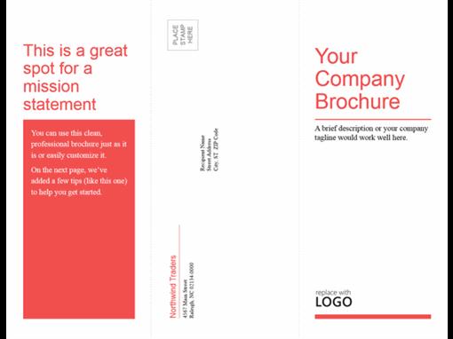 Tri-fold business, medical brochure (red, white design)