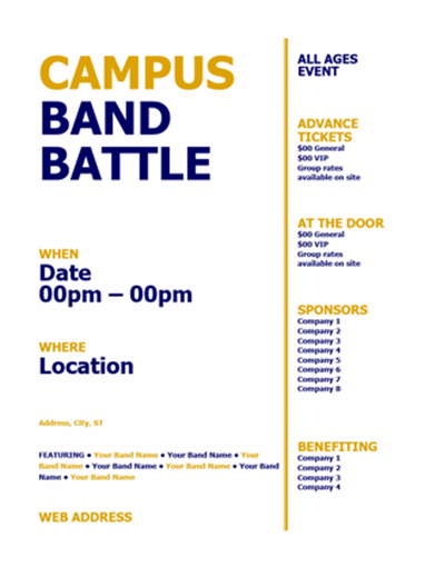 Student flyer (blue and gold bold design)