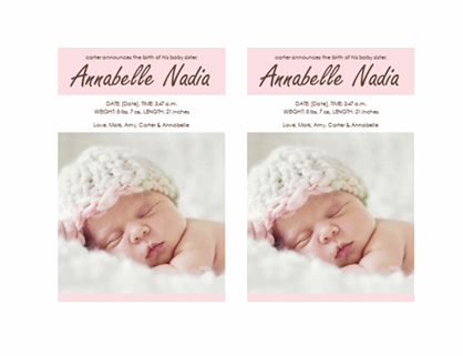 Baby girl birth announcement