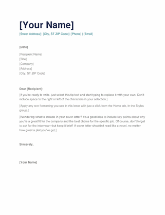 Simple cover letter