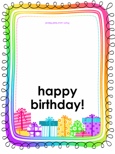 Birthday card (gifts on white background, half-fold)