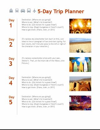 5-day trip planner