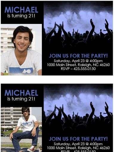 Party invitation (blue on black)